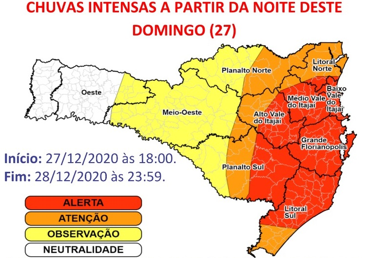 Previsão é de novos temporais e risco de alagamentos em SC – Foto: Defesa Civil SC/Divulgação