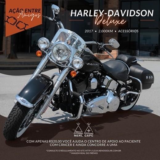 Prêmio da ação solidária é uma moto Harley Davidson Deluxe