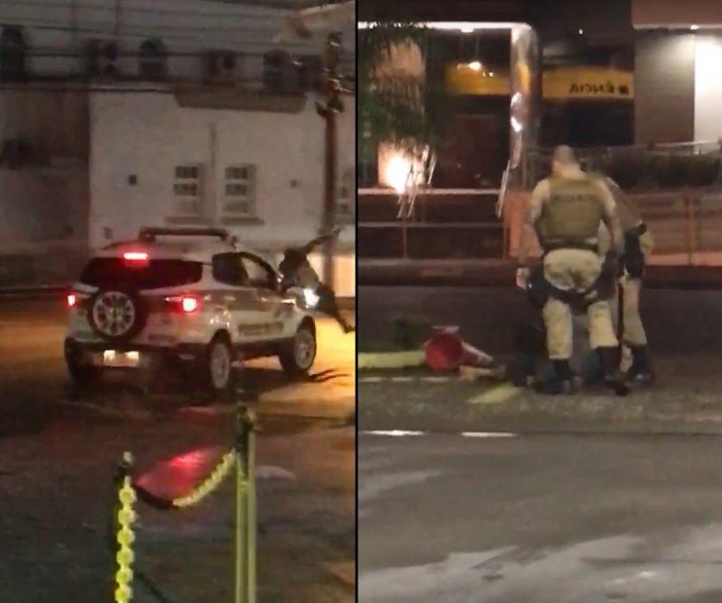 Vídeo mostram que os PMs de Itajaí atropelam suspeito após golpeá-lo