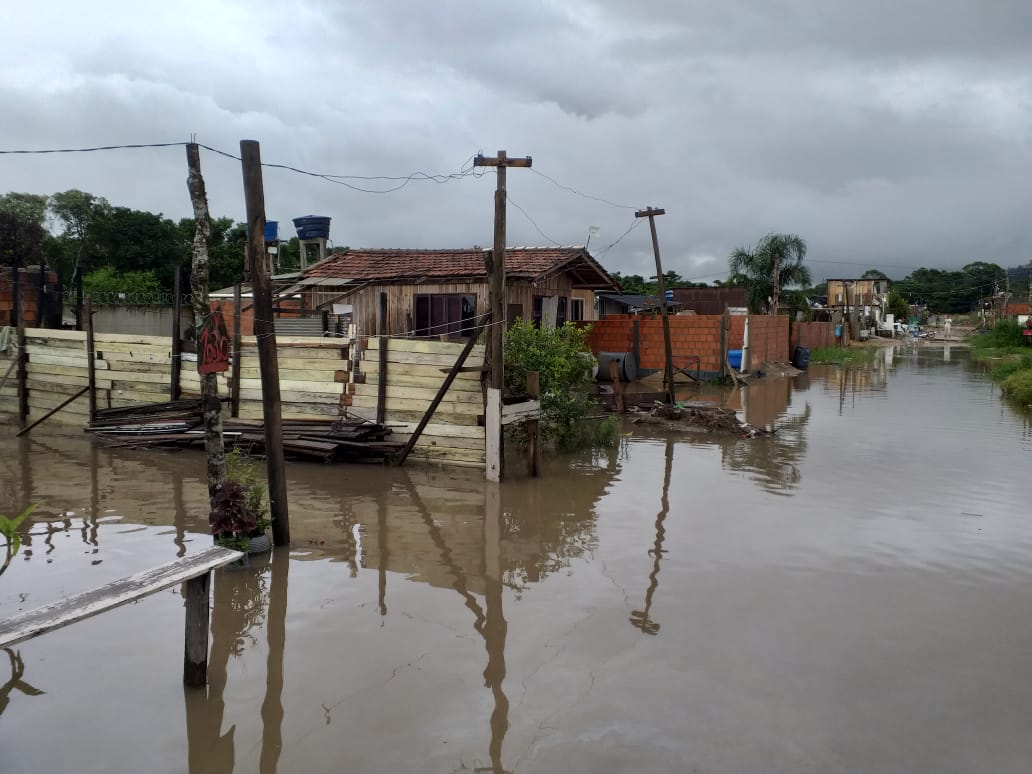 O maior problema enfrentado no município foi na região do Escalvado, onde o Rio Luiz Alves transbordou. - Defesa Civil Navegantes/Divulgação