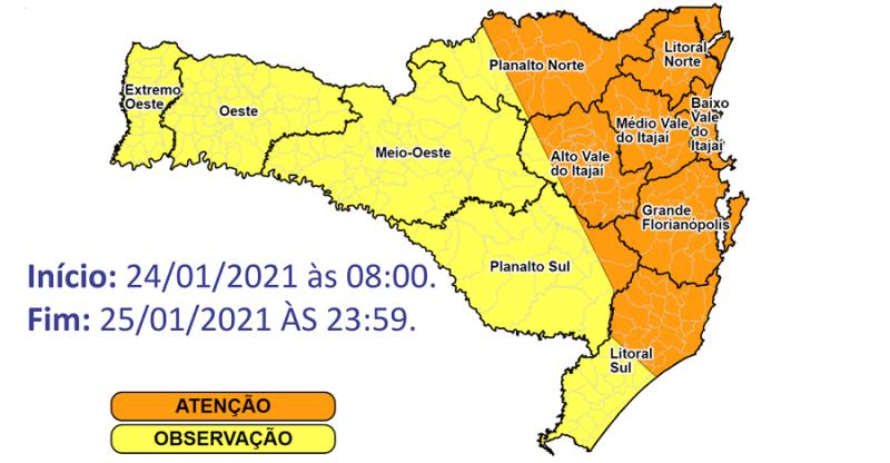 Defesa Civil emitiu novo alerta de temporais em Santa Catarina – Foto: Defesa Civil/Divulgação