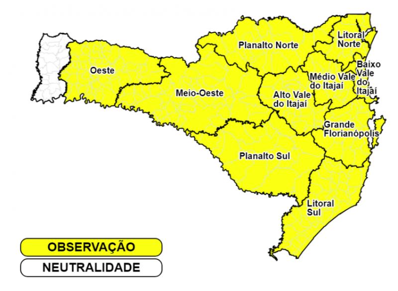 Há chance de estragos causados pelas chuvas nas regiões em amarelo no mapa – Foto: Defesa Civil SC/Divulgação ND
