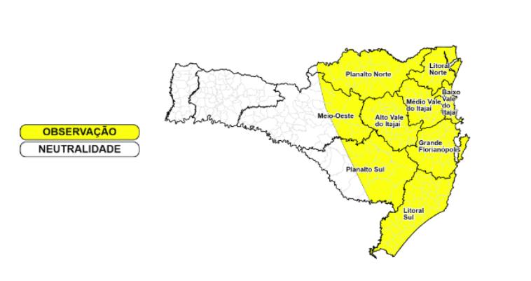 Mapa com alerta da Defesa Civil
