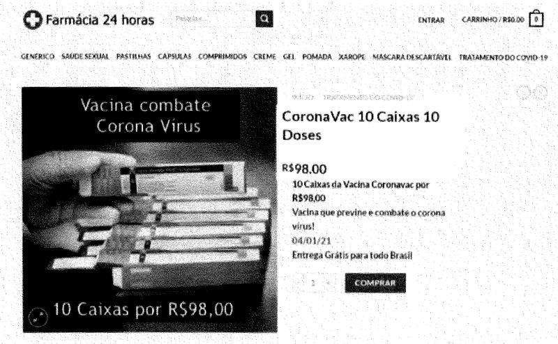 Anúncio falso prometia venda de doses da vacina Coronavac – Foto: Reprodução/ND