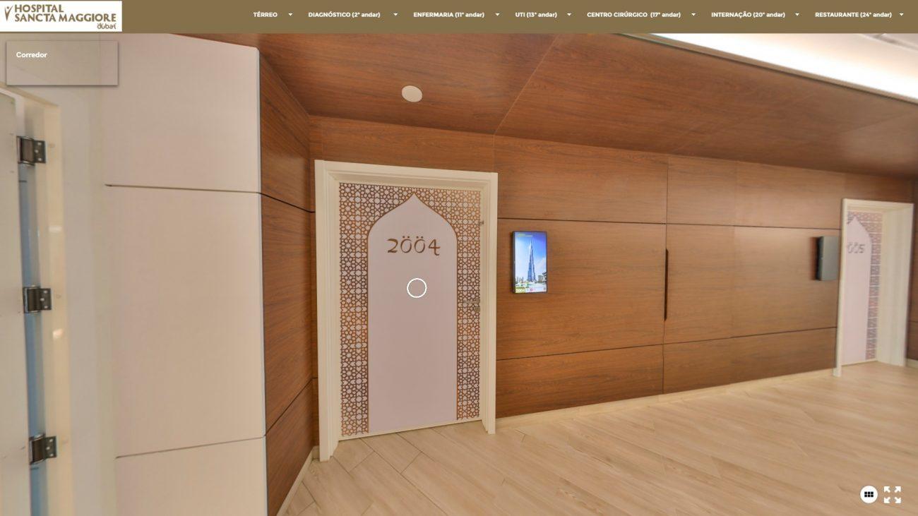 Entrada de um dos apartamentos, com detalhes que fazem referência à cidade de Dubai - Reprodução/Hospital Sancta Maggiore Dubai