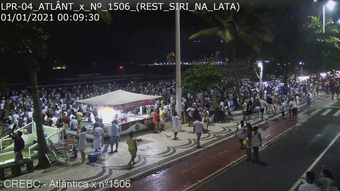 Balneário Camboriú no Ano novo registra aglomerações - SSP-SC/Reprodução/ND