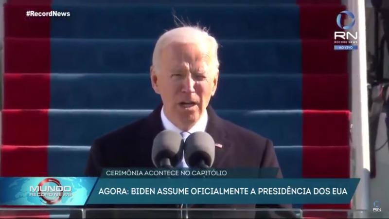 Biden assumiu a presidência dos EUA na quarta-feira (20) – Foto: Record News/Divulgação/ND