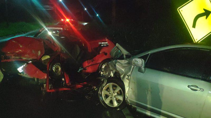 Colisão frontal na SC-407 deixou uma vítima fatal – Foto: Divulgação/PMRV