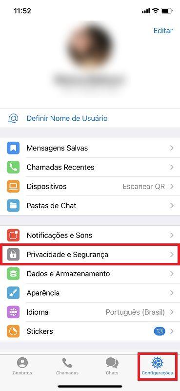 iOS – Passo 1 - Crédito: Reprodução/Telegram/33Giga/ND
