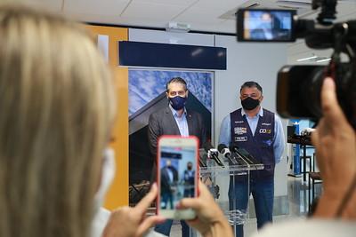 Coletiva de imprensa com o secretário de saúde de SC, André Motta Ribeiro, e o superintendente do Ministério da Saúde em SC, Rogerio Ribeiro – Foto: Julio Cavalheiro/SECOM