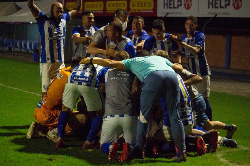 Jogadores comemoram o gol decisivo de Jonathan que deixa o Leão vivo pelo acesso – Foto: André Palma Ribeiro/Avaí F.C