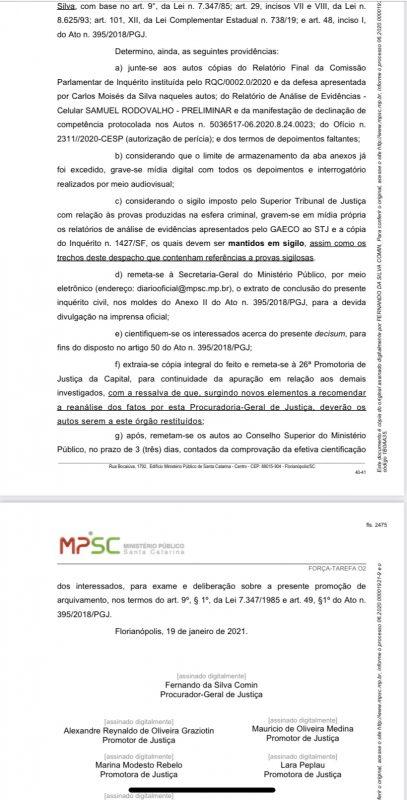 Arquivado inquérito contra Moisés – Foto: Decisão MPSC