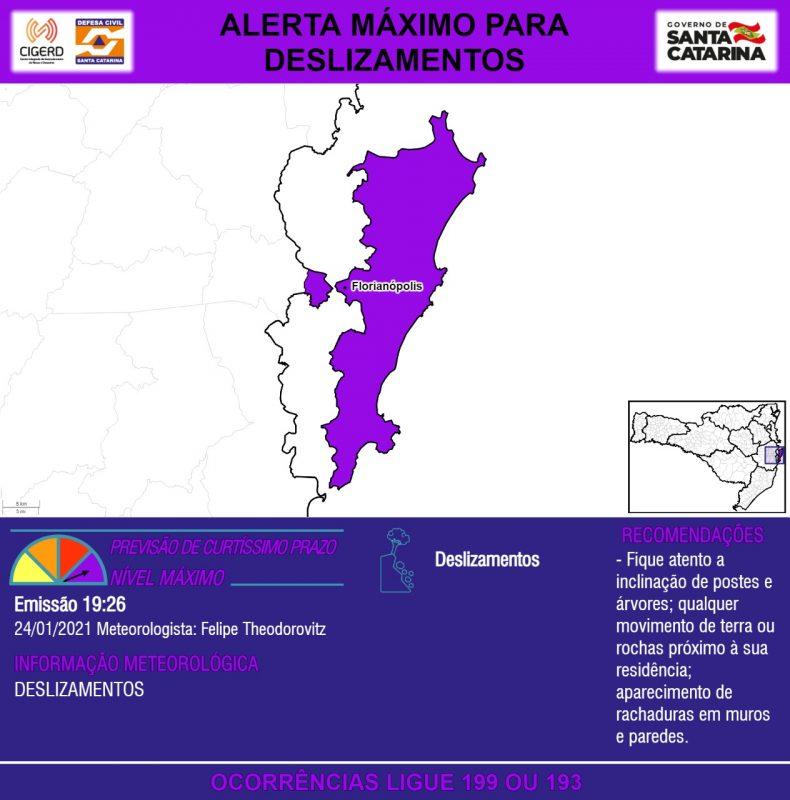Alerta de risco máximo para o município de Florianópolis – Foto: Defesa Civil de Santa Catarina/Divulgação/ND
