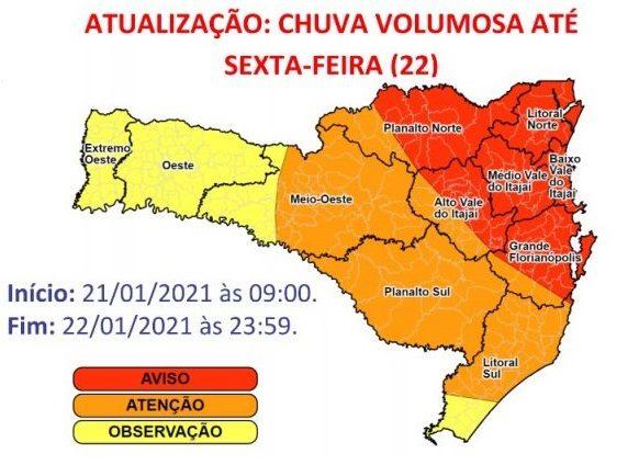 Mapa de alerta da Defesa Civil