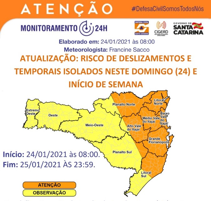 Algumas regiões que estão em laranja permanecem com risco de deslizamentos e temporais isolados para o início da semana em SC – Foto: Defesa Civil de SC/Divulgação