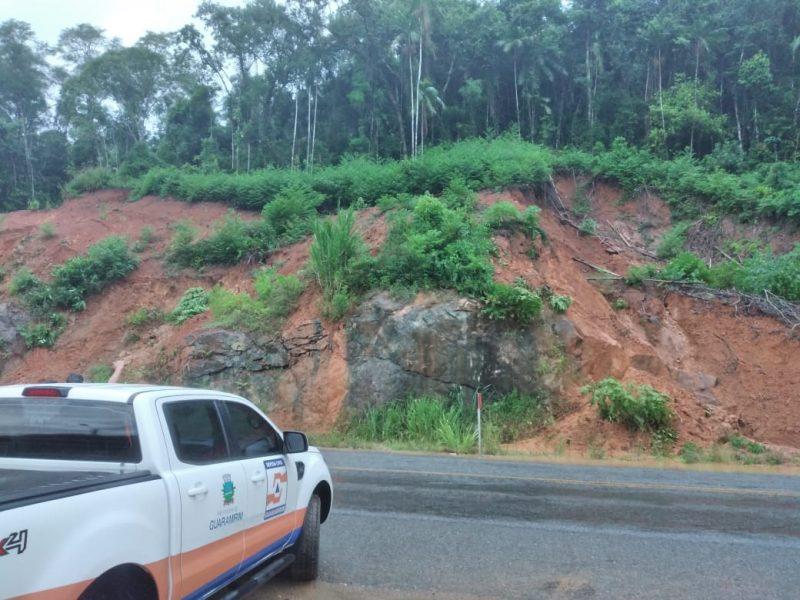 Cidade também faz monitoramento de possíveis deslizamentos na SC-108 – Foto: Prefeitura de Guaramirim/Divulgação