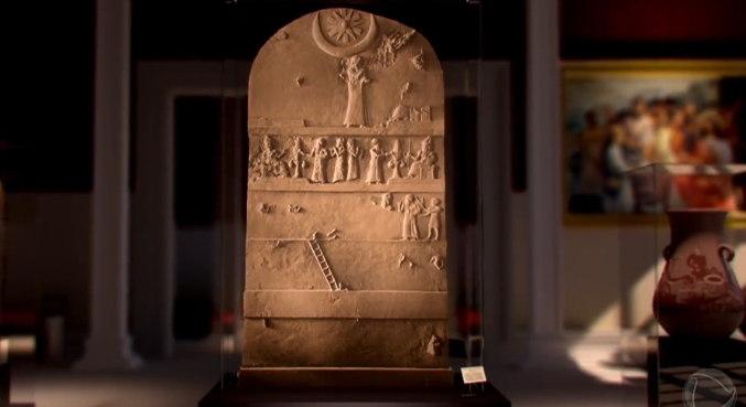 Estela de Ur Nammu: Ur-Nammu foi o fundador da terceira dinastia de Ur (2047 a 2030 a.C), sua popularidade entre seus súditos é aparente em estelas e inscrições. Estelas mesopotâmicas serviam ao propósito de comemorar atos e conquistas dos reis – Foto: Record TV/Divulgação
