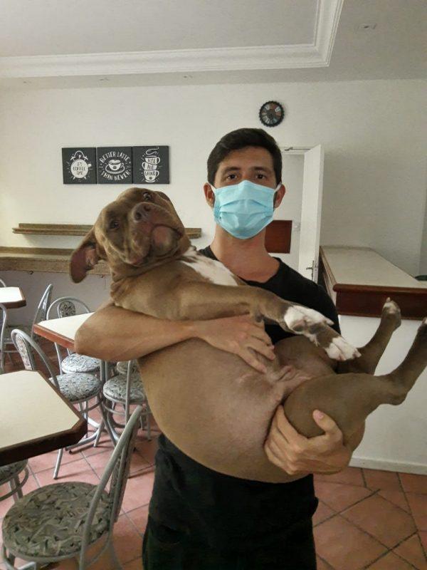 Felipe Oliveira e a sua cachorrinha, Gaia, no colo