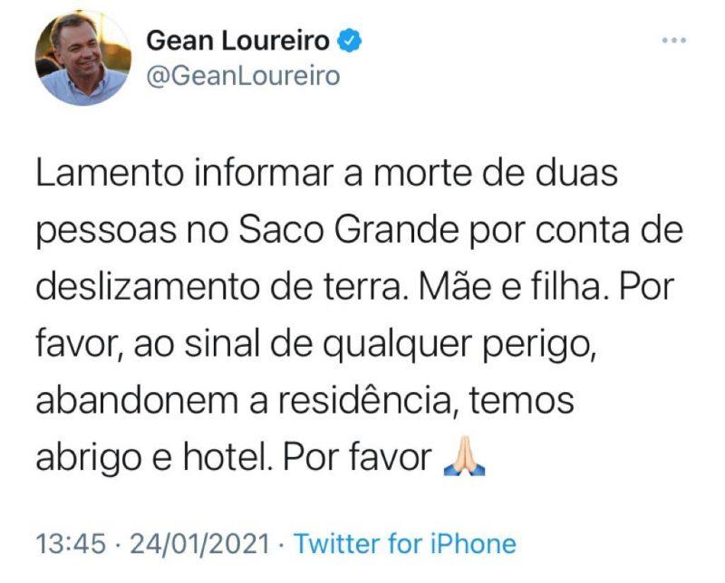Gean Loureiro informou que há hospedagem disponível para população em risco – Foto: Twitter/Reprodução