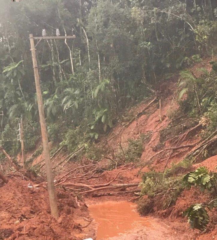Bairro Lageado Alto ficou sem acesso e sem energia elétrica – Foto: Prefeitura/Divulgação