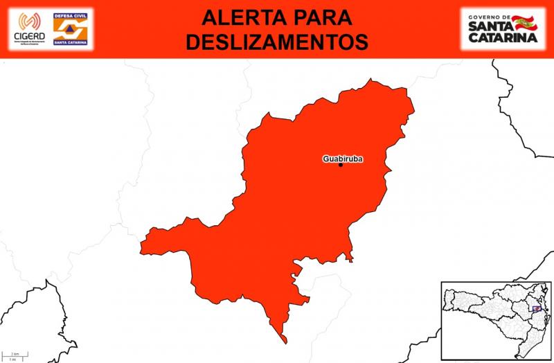 Guabiruba em alerta para risco de deslizamentos – Foto: Divulgação / Defesa Civil SC