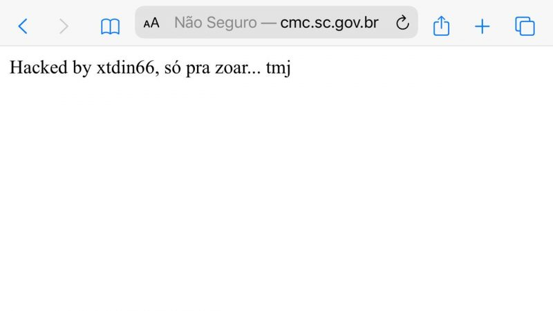 Site da Câmara de Vereadores de Chapecó é hackeado nesta madrugada de quarta-feira (27) – Foto: Divulgação/ND