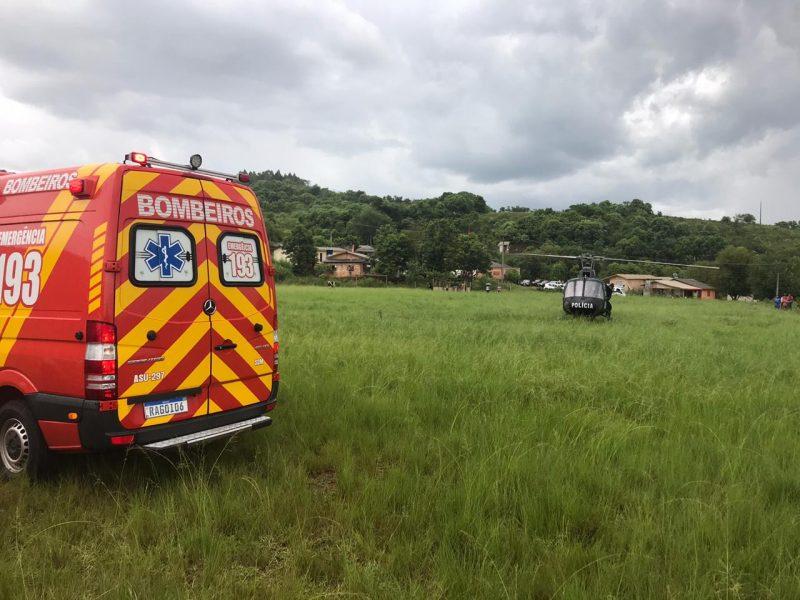 Indígena é morto com golpes de faca na reserva Pinhalzinho, em Ipuaçu, no Oeste catarinense – Foto: Corpo de Bombeiros/Divulgação/ND