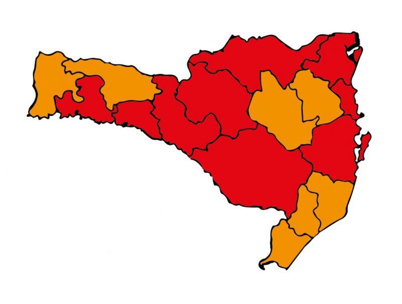 Novo mapa de risco da Covid-19 em SC mostra nove regioões em nível gravíssimo