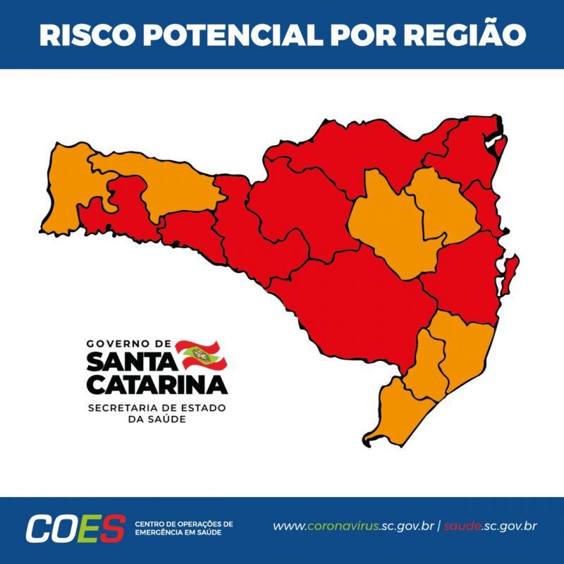 mapa de classificação de risco da covid-19 com todas as regiões demonstrando as cores, são sete na cor laranja e nove na cor vermelho. Aparece o símbolo do governo de SC e do Centro de Operações de Emergência em Saúde de SC