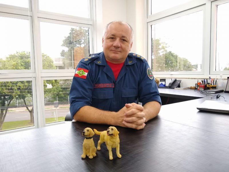 Comandante do 6º BPM de Chapecó, tenente-coronel Walter Parizotto, é apaixonado pelas miniaturas de cães que expões na sala de comando – Foto: Carolina Debiasi/ND