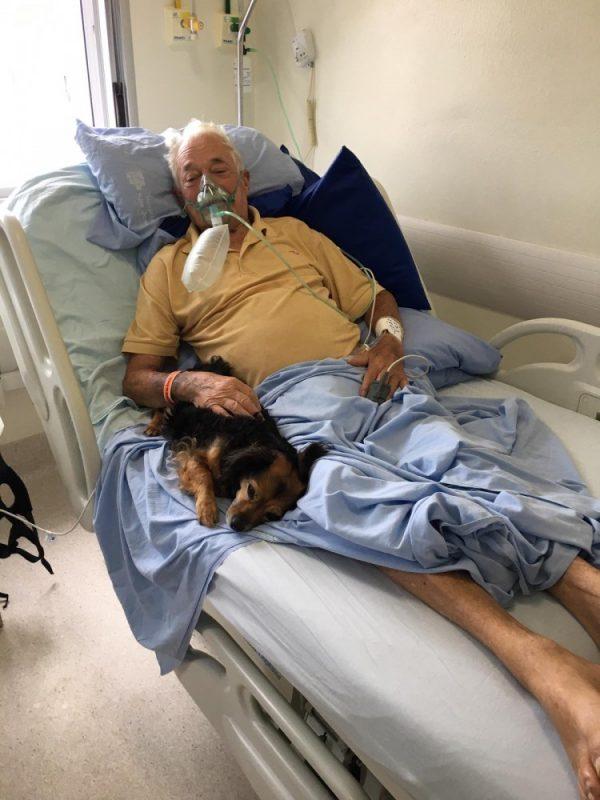 Idoso recebeu visita da cachorrinha dois dias antes de morrer – Foto: Hospital São José/Divulgação