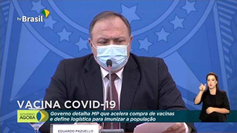 Pazuello, durante coletiva de imprensa sobre MP que flexibiliza compra das vacinas contra Covid-19 – Foto: TV Brasil/Divulgação/ND