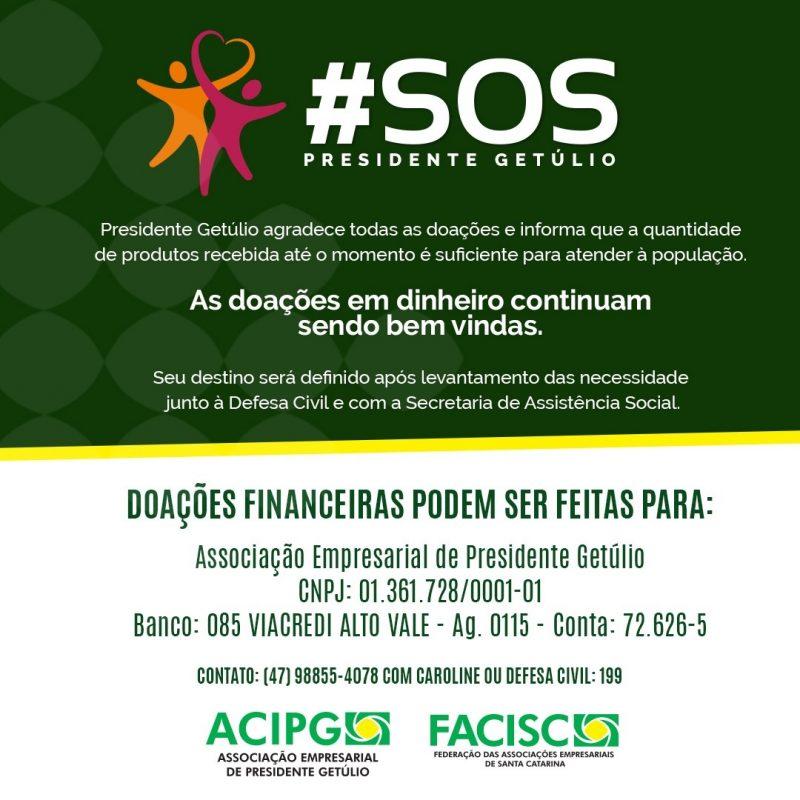 Conta criada para receber doações voltadas aos atingidos pela enxurrada – Foto: ACIPG/Divulgação