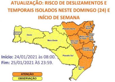 Previsão é de chuvas fortes e intercaladas até o fim de semana – Foto: Defesa Civil de Itajaí/Divulgação