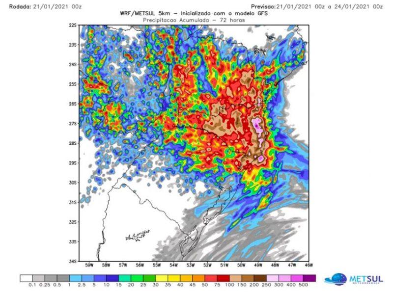 Metsul prevê acúmulo de 400 mm em SC nos próximos dias