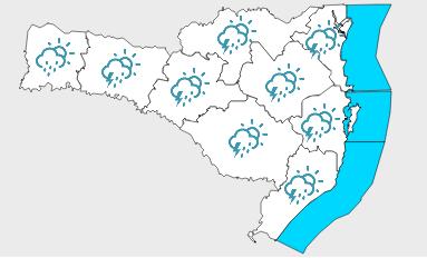 Para o sábado (30), o alerta é para temporais localizados e com altos volumes de precipitação em curtos intervalos de tempo – Foto: Divulgação/Defesa Civil de SC