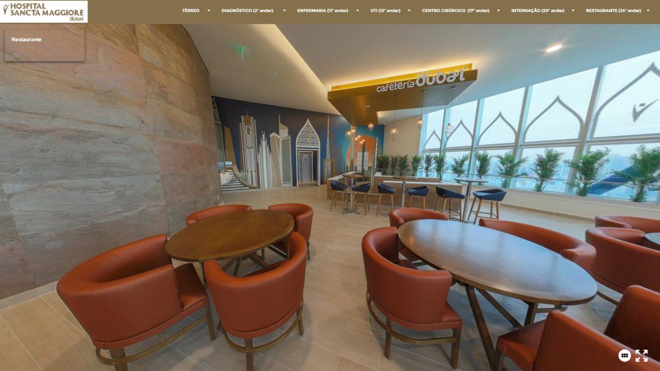 Restaurante do Hospital Sancta Maggiore Dubai, no bairro do Morumbi, em São Paulo - Reprodução/Hospital Sancta Maggiore Dubai