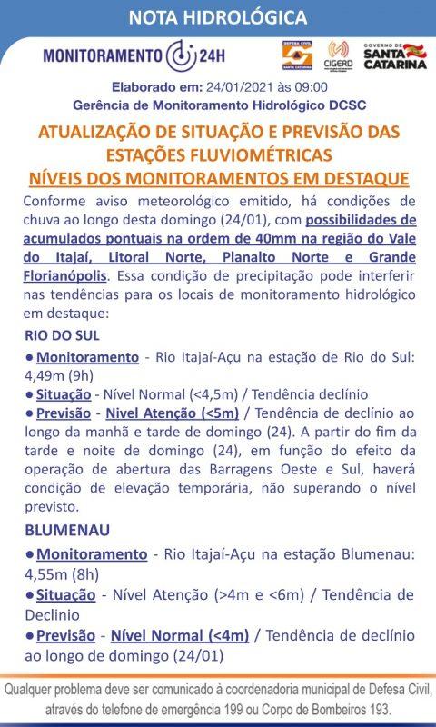 Situação dos rios em Santa Catarina – Foto: Defesa Civil/Divulgação