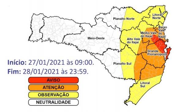 Risco é maior na parte Leste do Estado – Foto: Divulgação/Defesa Civil/ND