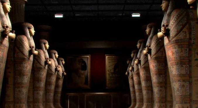 Sarcófagos Egípcios: Um sarcófago é uma urna funerária, geralmente de pedra, colocada sobre o solo. No Antigo Egito, se o morto fosse de classe alta, o corpo era geralmente mumificado e depositado nesse tipo de urna – Foto: Record TV/Divulgação