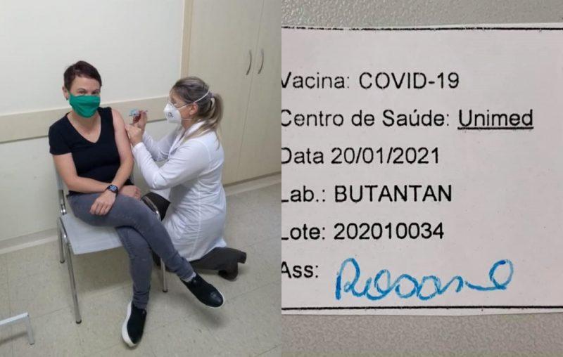 Médica recebeu a primeira dose nesta quarta-feira, dia 20 – Foto: Reprodução/ND