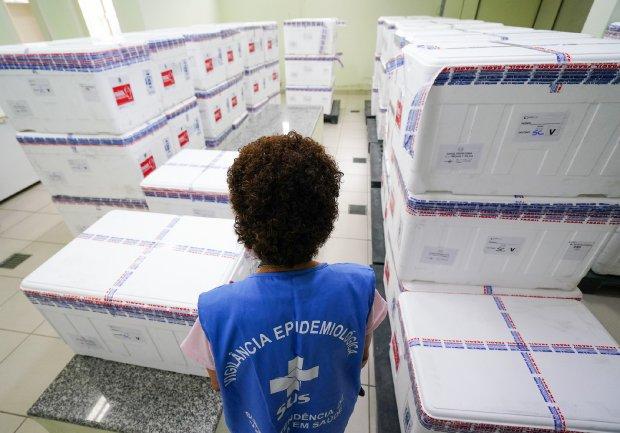 Vacinas começaram a ser distribuídas na manhã desta terça-feira (19) aos municípios – Foto: Ricardo Wolffenbuttel / Secom