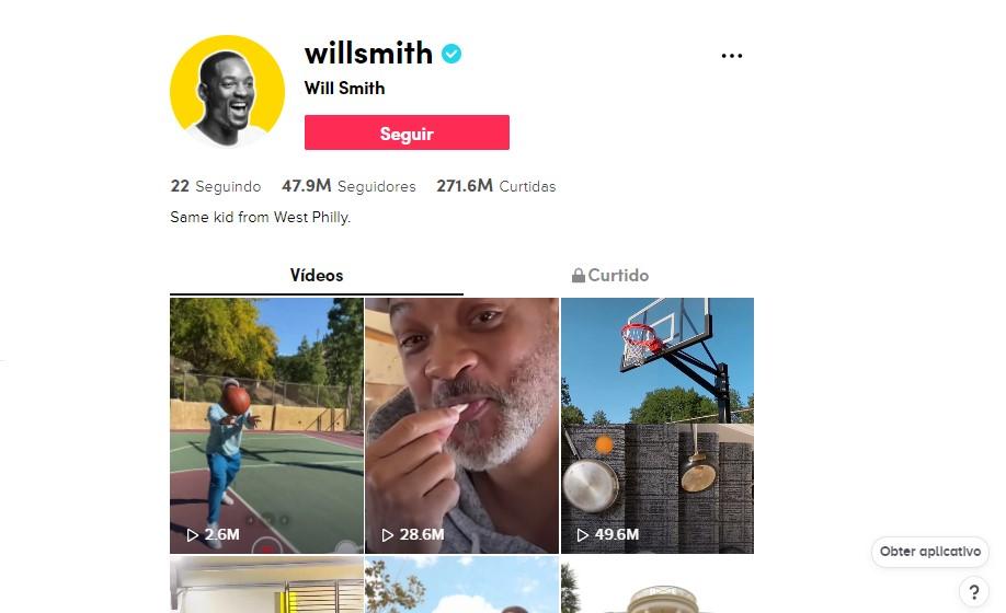 Will Smith - @willsmith O ator é muito ativo no TikTok. Em seu perfil, ele mostra bastante da sua rotina com a família e outros atores e faz referências a trabalhos clássicos que marcaram a sua carreira - Foto: Divulgação/33Giga/ND
