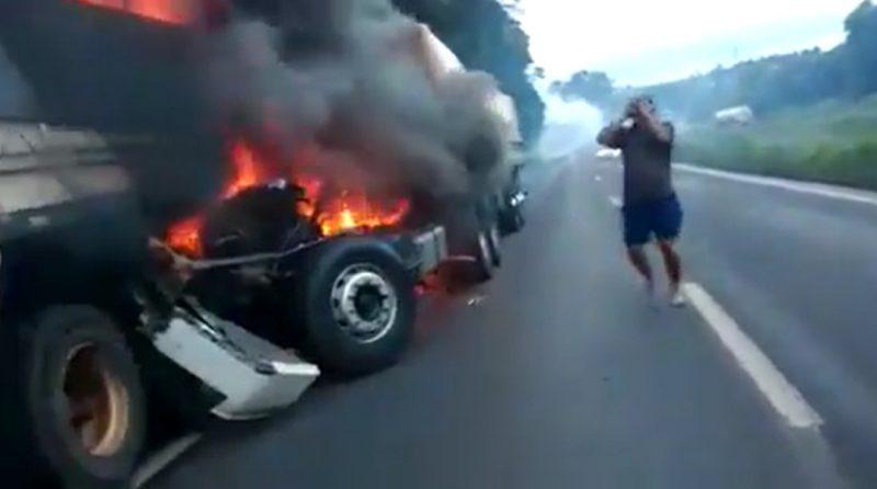 Filho morreu após colidir na traseira do caminhão do pai, na BR-467 – Foto: Reprodução/Ricmais