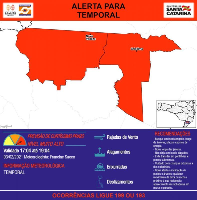 Alerta indica risco alto na região de Criciúma, Nova Veneza e Cocal do Sul – Foto: Defesa Civil de Santa Catarina/ND
