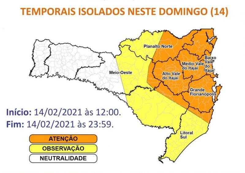 Defesa Civil emite alerta para temporais neste domingo em SC – Foto: Reprodução/Defesa Civil SC