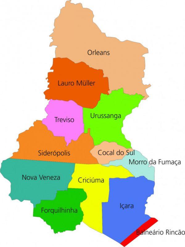 Região carbonífera é composta por 12 municípios – Foto: Mapa da AMREC/ND