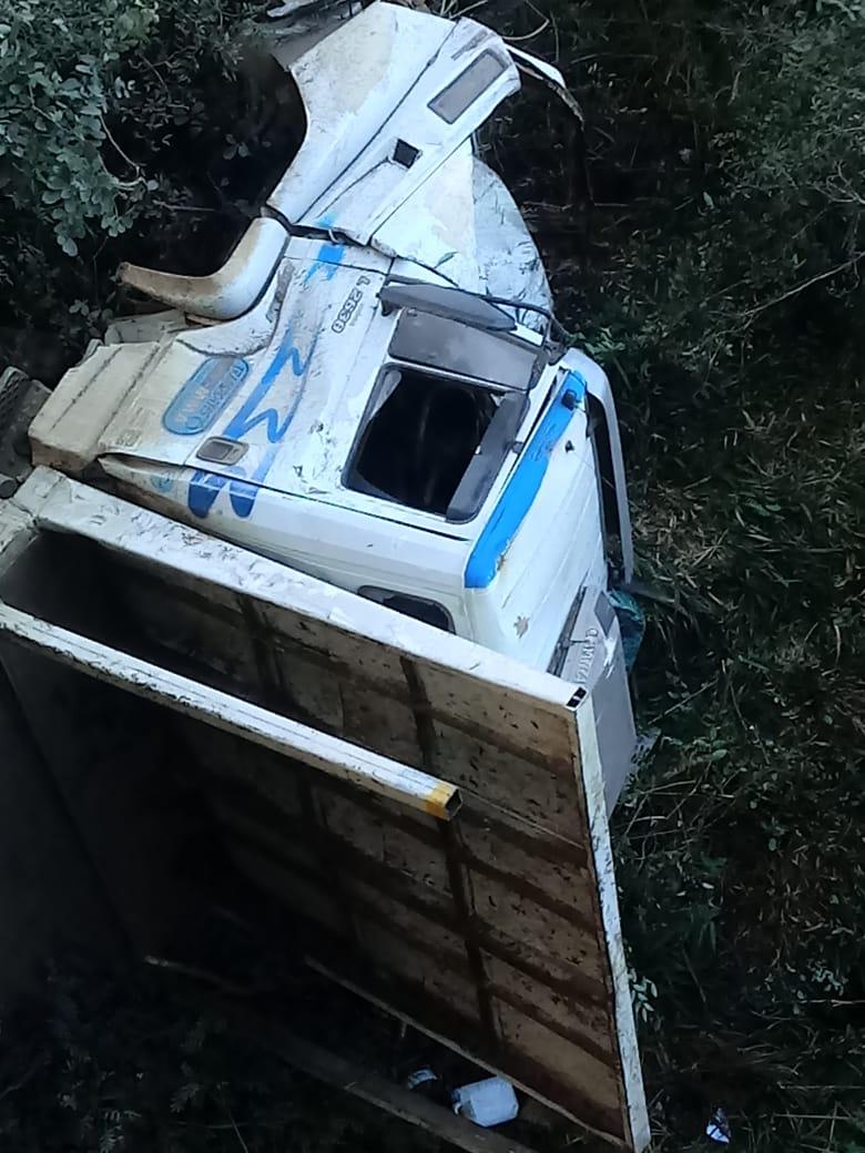Motorista de 61 anos ficou ferido na cabeça após caminhão despencar da ponte - Corpo de Bombeiros/Divulgação/ND