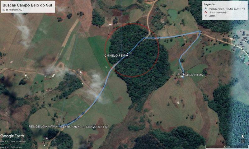 Mapa do local onde a menina desapareceu no interior de Campo Belo do Sul, na Serra Catarinense; mapa auxiliou nas buscas.