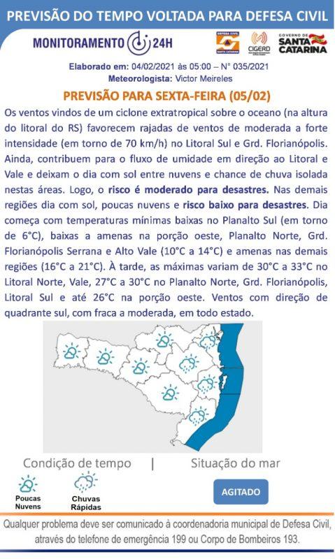 Previsão para a sexta (5) com atuação de ciclone extratropical – Foto: Defesa Civil de Santa Catarina/ND